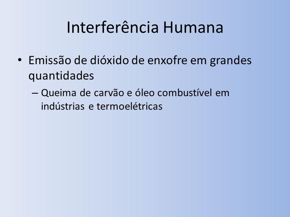 Interferência Humana Emissão de dióxido de enxofre em grandes quantidades.