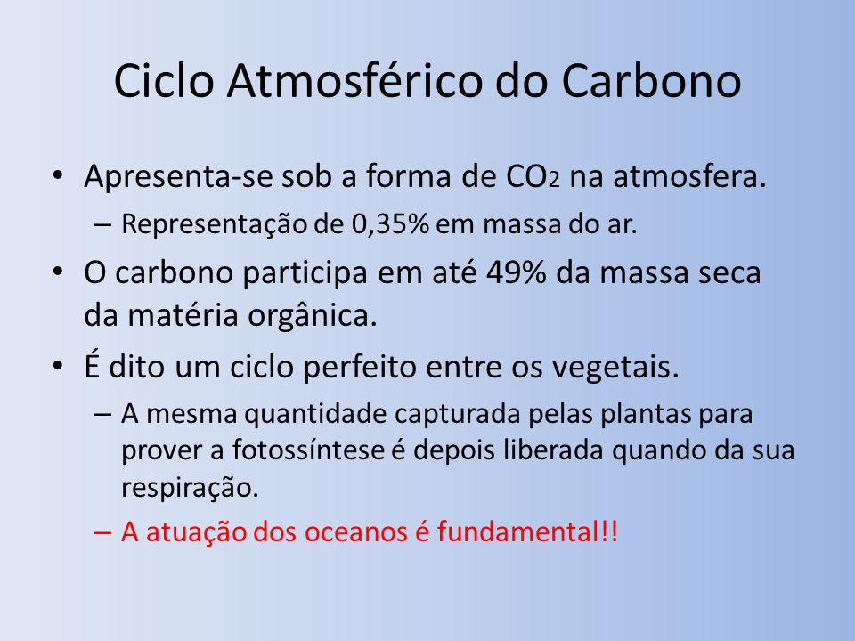 Ciclo Atmosférico do Carbono