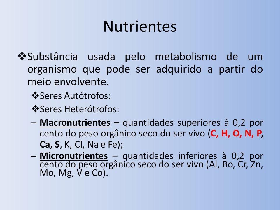 Nutrientes Substância usada pelo metabolismo de um organismo que pode ser adquirido a partir do meio envolvente.