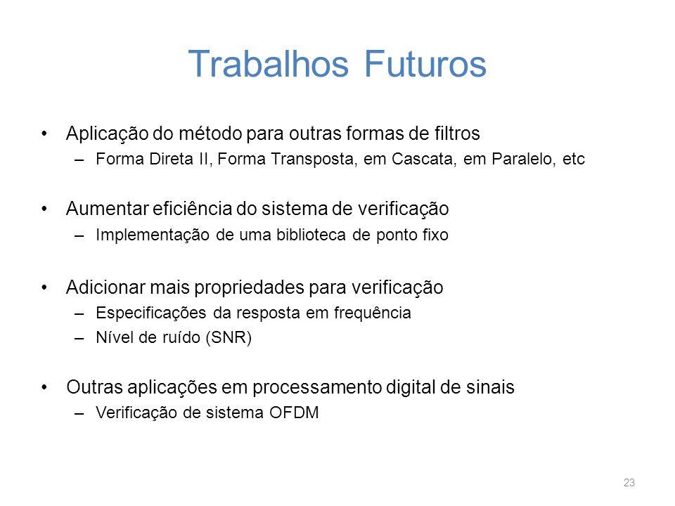 Trabalhos Futuros Aplicação do método para outras formas de filtros