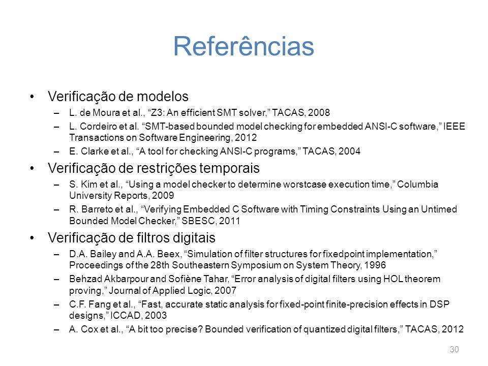 Referências Verificação de modelos Verificação de restrições temporais