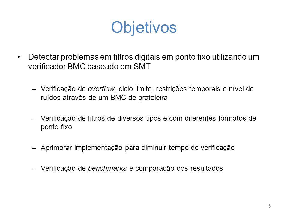 Objetivos Detectar problemas em filtros digitais em ponto fixo utilizando um verificador BMC baseado em SMT.