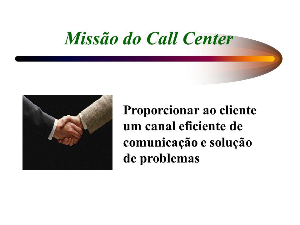 Missão do Call Center Proporcionar ao cliente um canal eficiente de comunicação e solução de problemas.