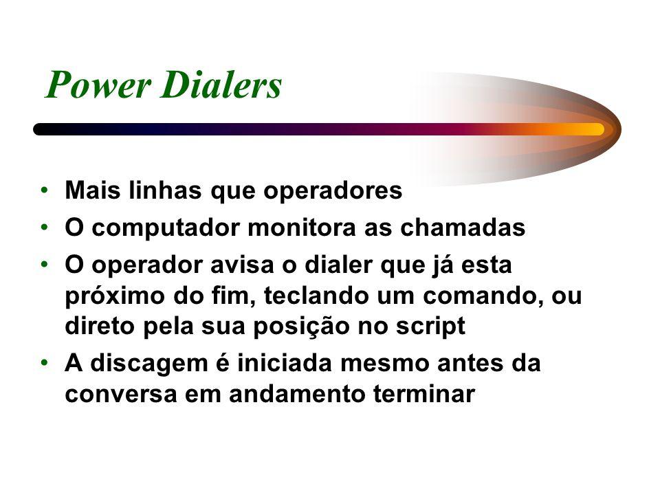 Power Dialers Mais linhas que operadores