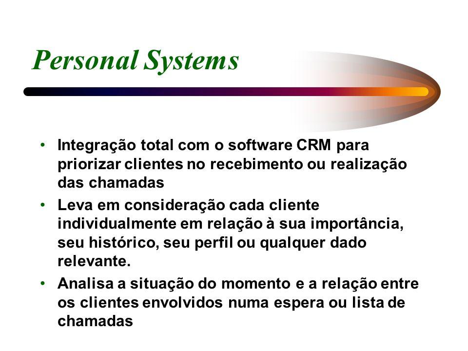 Personal Systems Integração total com o software CRM para priorizar clientes no recebimento ou realização das chamadas.