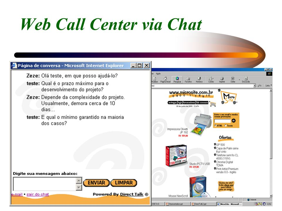 Web Call Center via Chat
