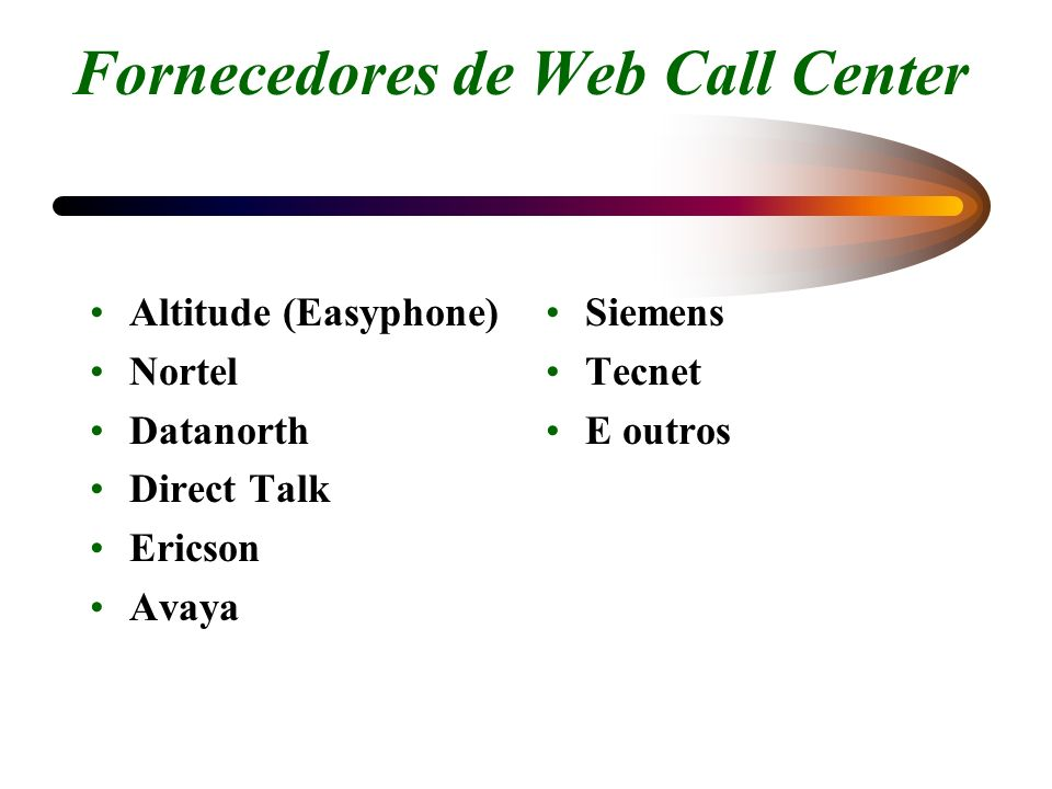 Fornecedores de Web Call Center