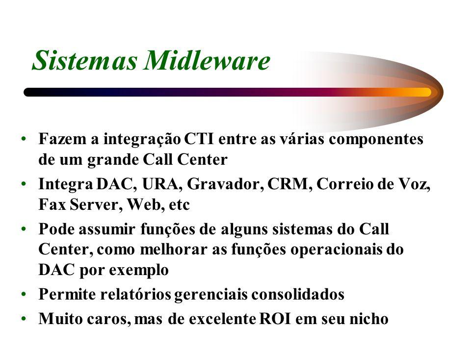 Sistemas Midleware Fazem a integração CTI entre as várias componentes de um grande Call Center.
