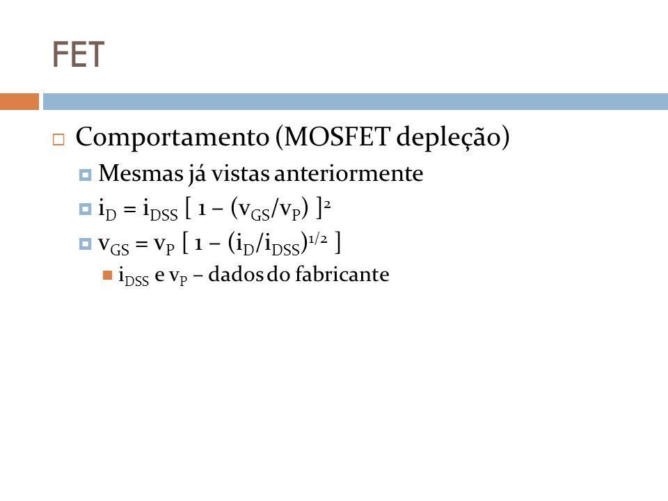 FET Comportamento (MOSFET depleção) Mesmas já vistas anteriormente