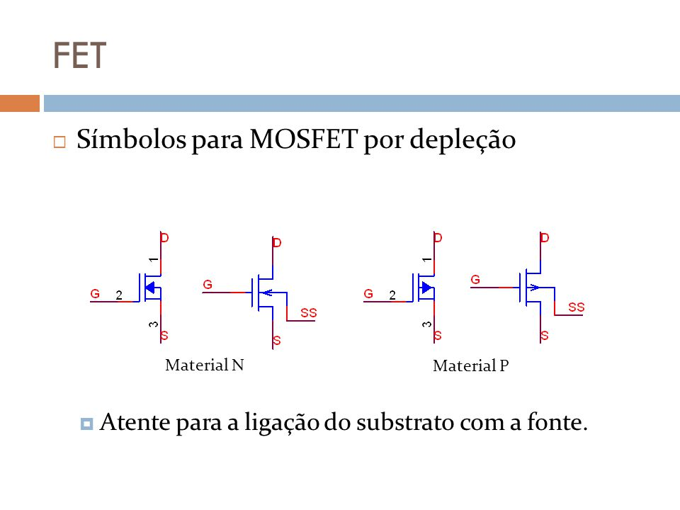 FET Símbolos para MOSFET por depleção