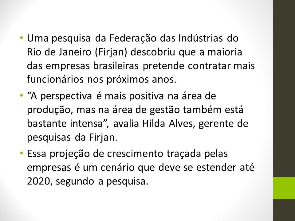 Uma pesquisa da Federação das Indústrias do Rio de Janeiro (Firjan) descobriu que a maioria das empresas brasileiras pretende contratar mais funcionários nos próximos anos.