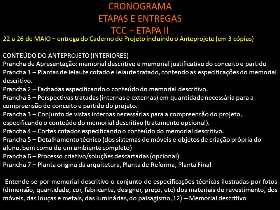 CRONOGRAMA ETAPAS E ENTREGAS TCC – ETAPA II