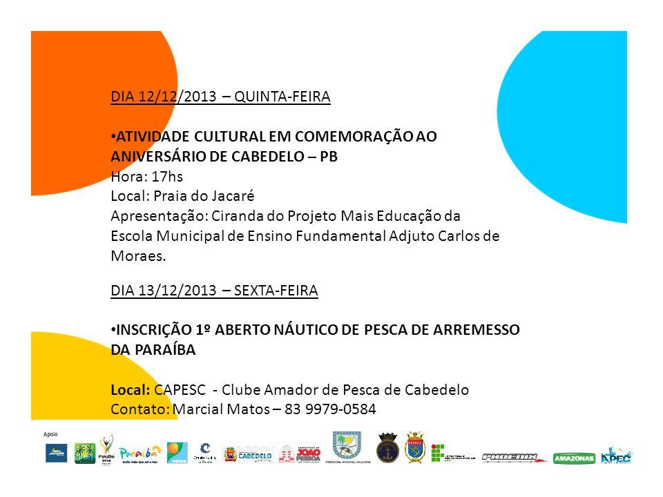 ATIVIDADE CULTURAL EM COMEMORAÇÃO AO ANIVERSÁRIO DE CABEDELO – PB