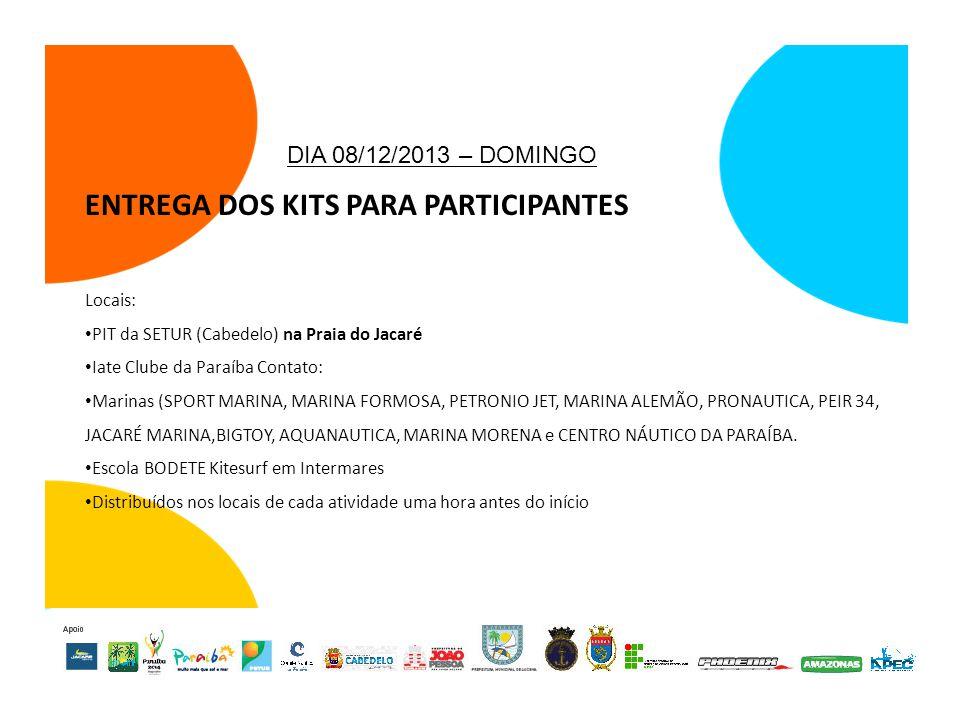 ENTREGA DOS KITS PARA PARTICIPANTES Locais: