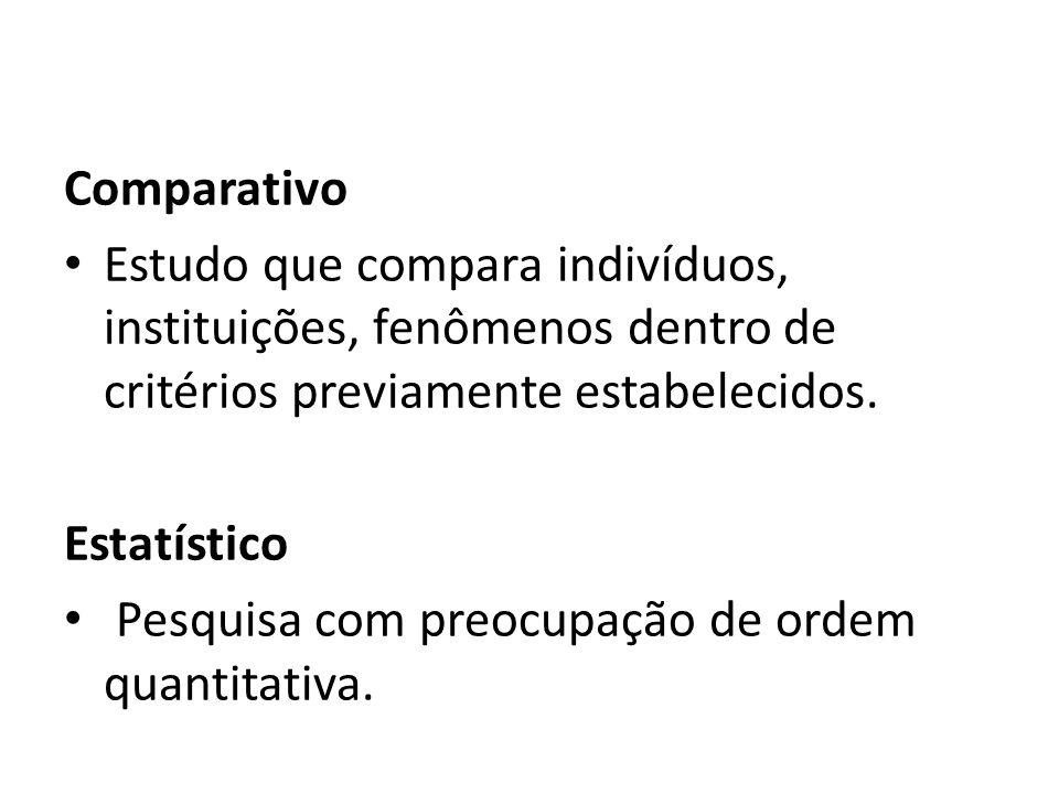 Comparativo Estudo que compara indivíduos, instituições, fenômenos dentro de critérios previamente estabelecidos.