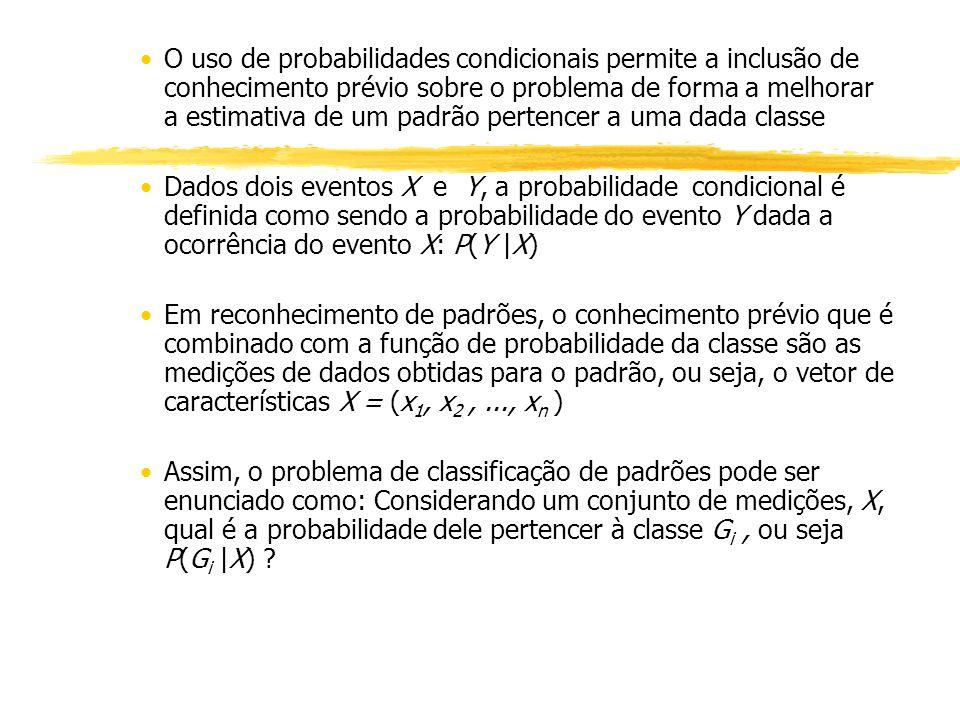 O uso de probabilidades condicionais permite a inclusão de conhecimento prévio sobre o problema de forma a melhorar a estimativa de um padrão pertencer a uma dada classe