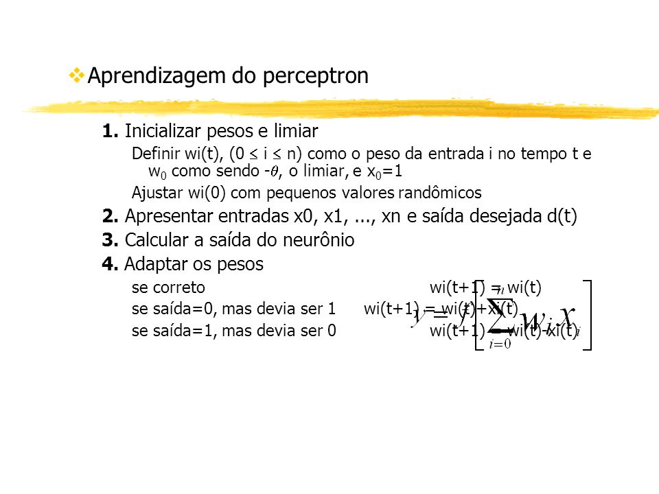 Aprendizagem do perceptron