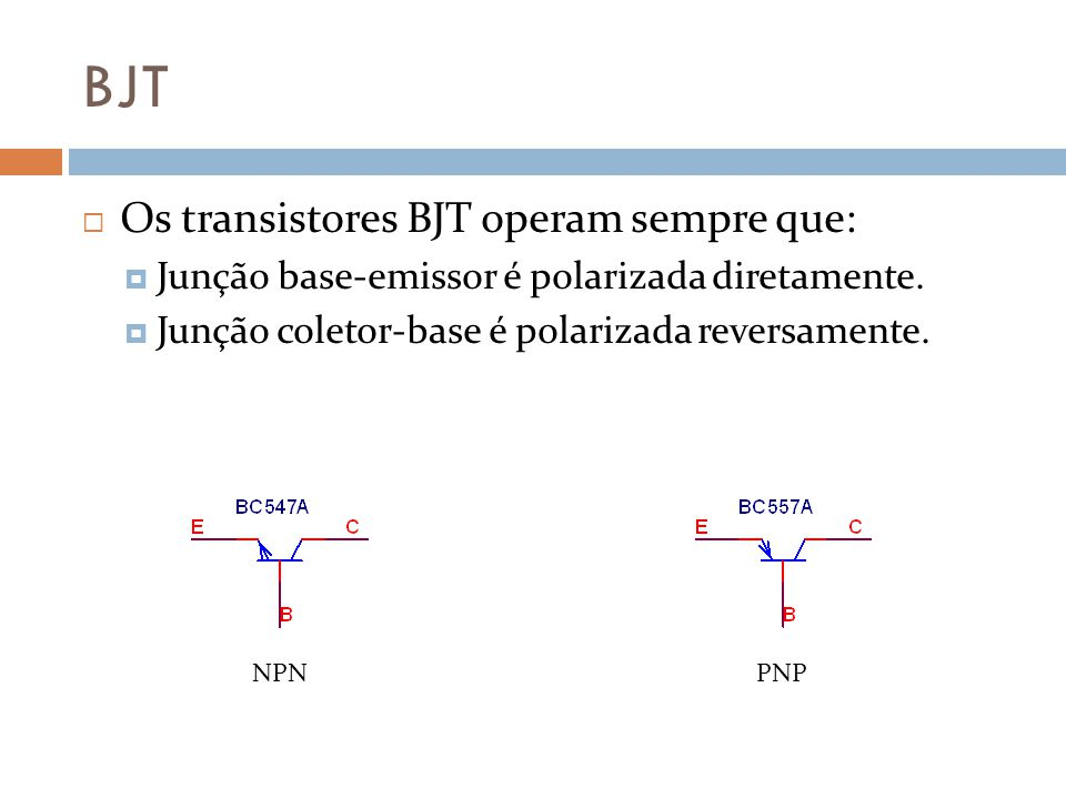 BJT Os transistores BJT operam sempre que: