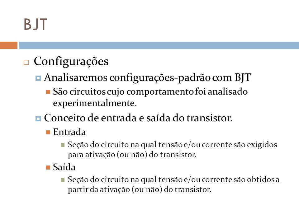 BJT Configurações Analisaremos configurações-padrão com BJT
