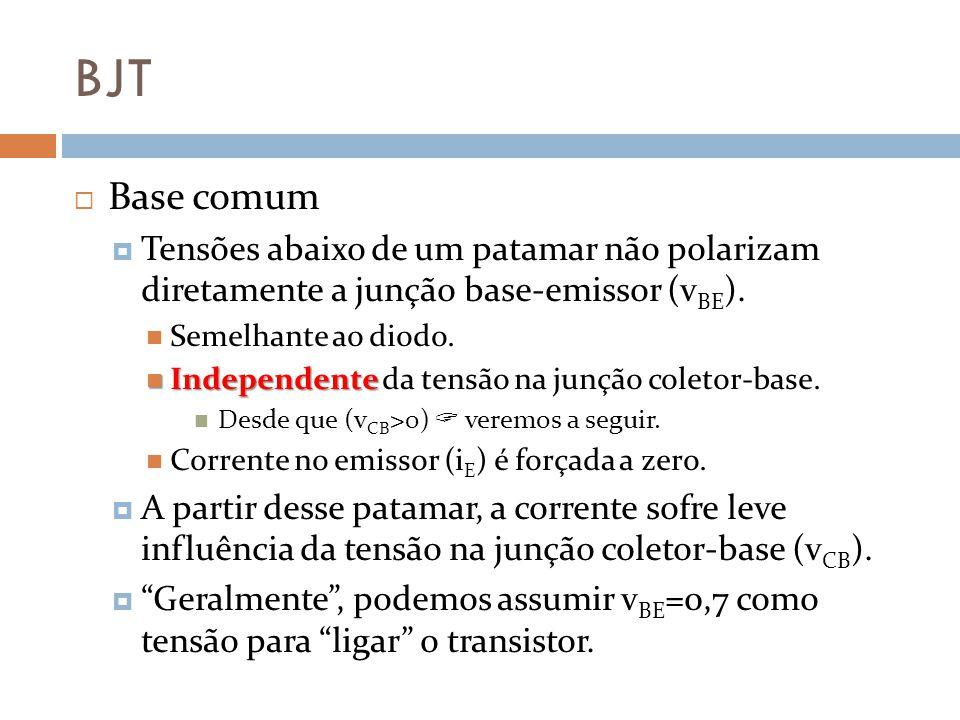 BJT Base comum. Tensões abaixo de um patamar não polarizam diretamente a junção base-emissor (vBE).