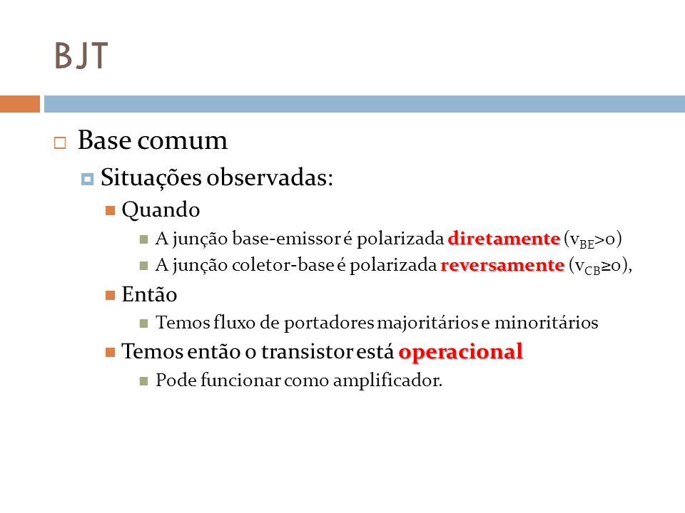 BJT Base comum Situações observadas: Quando Então