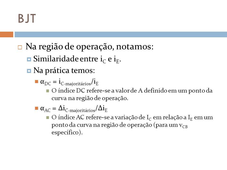 BJT Na região de operação, notamos: Similaridade entre iC e iE.