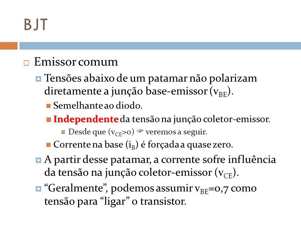 BJT Emissor comum. Tensões abaixo de um patamar não polarizam diretamente a junção base-emissor (vBE).