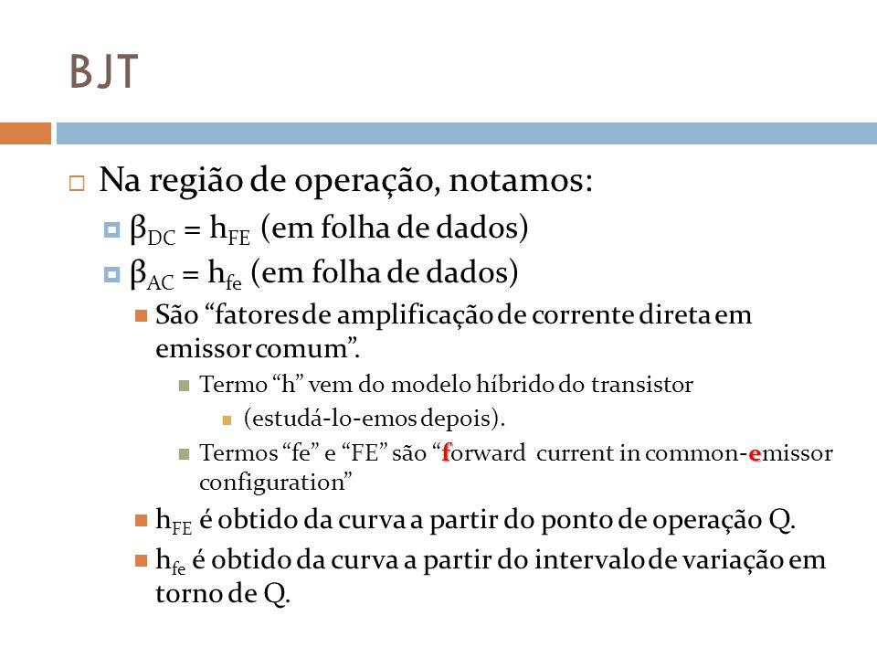 BJT Na região de operação, notamos: βDC = hFE (em folha de dados)
