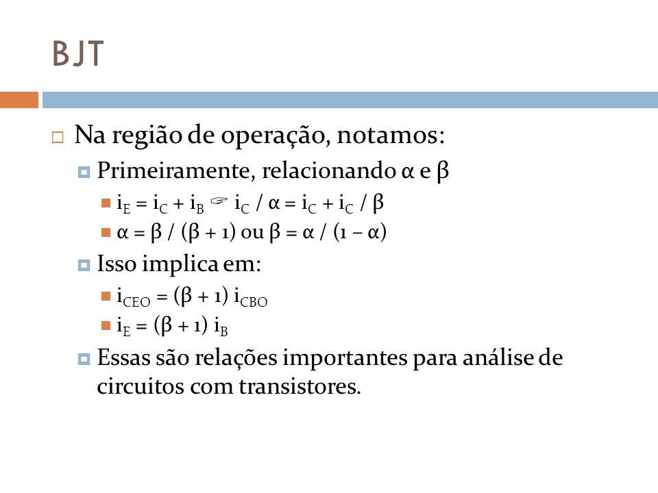 BJT Na região de operação, notamos: Primeiramente, relacionando α e β