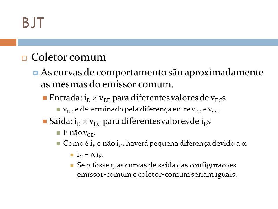 BJT Coletor comum. As curvas de comportamento são aproximadamente as mesmas do emissor comum. Entrada: iB  vBE para diferentes valores de vECs.
