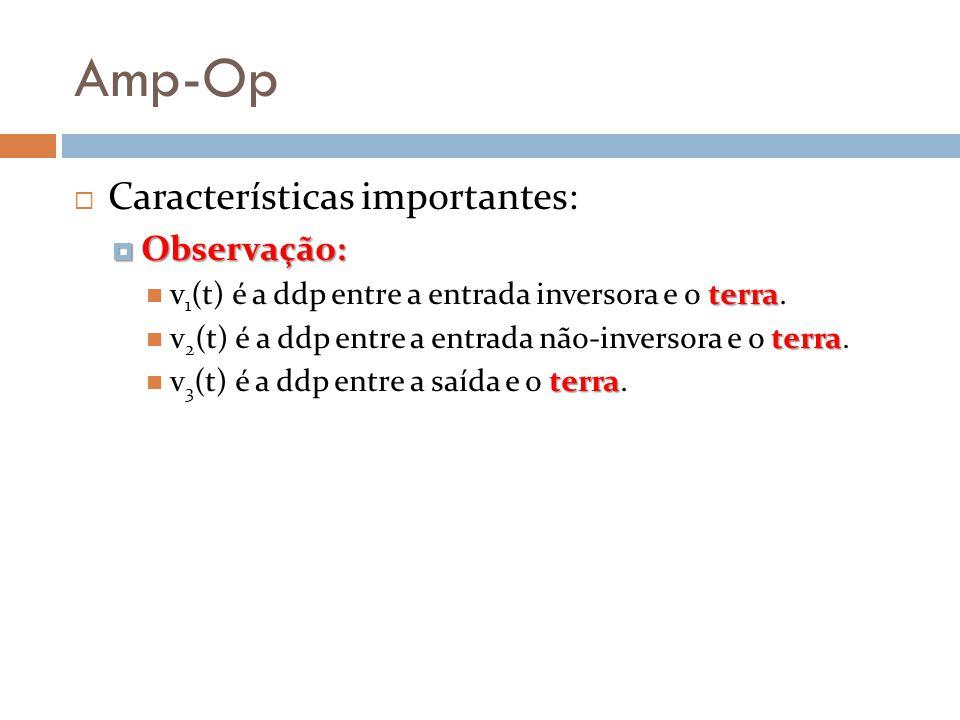 Amp-Op Características importantes: Observação: