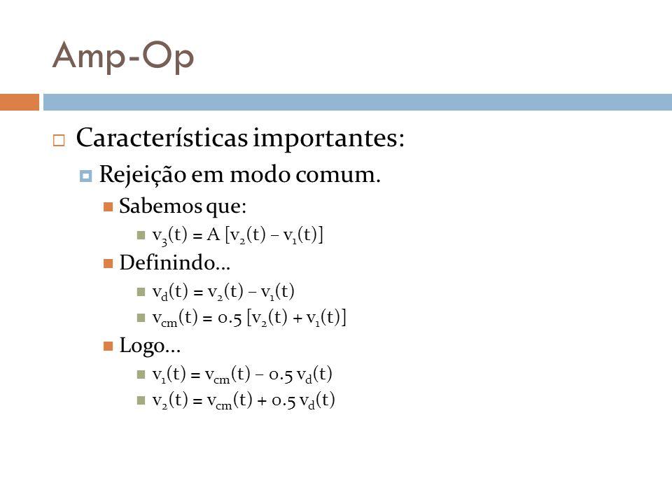 Amp-Op Características importantes: Rejeição em modo comum.