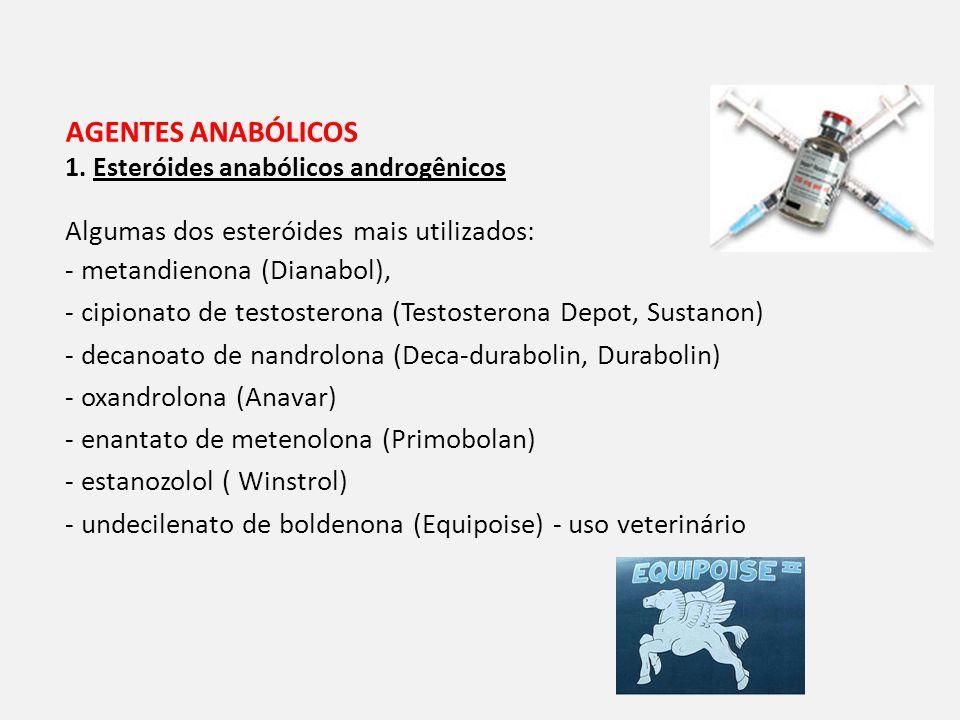 AGENTES ANABÓLICOS Algumas dos esteróides mais utilizados: