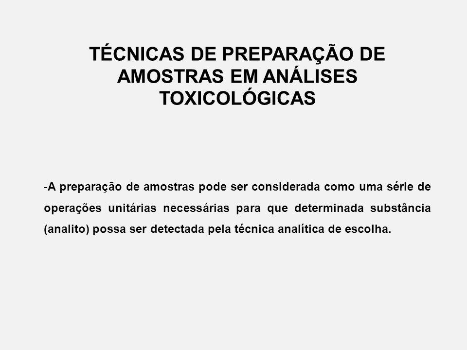 TÉCNICAS DE PREPARAÇÃO DE AMOSTRAS EM ANÁLISES TOXICOLÓGICAS