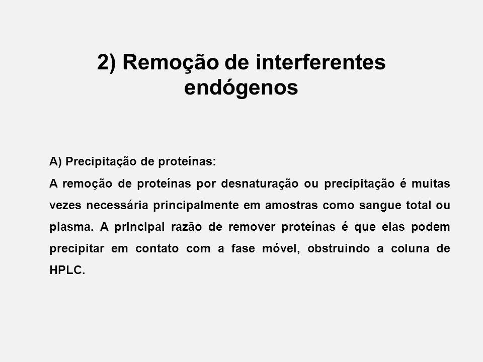 2) Remoção de interferentes endógenos