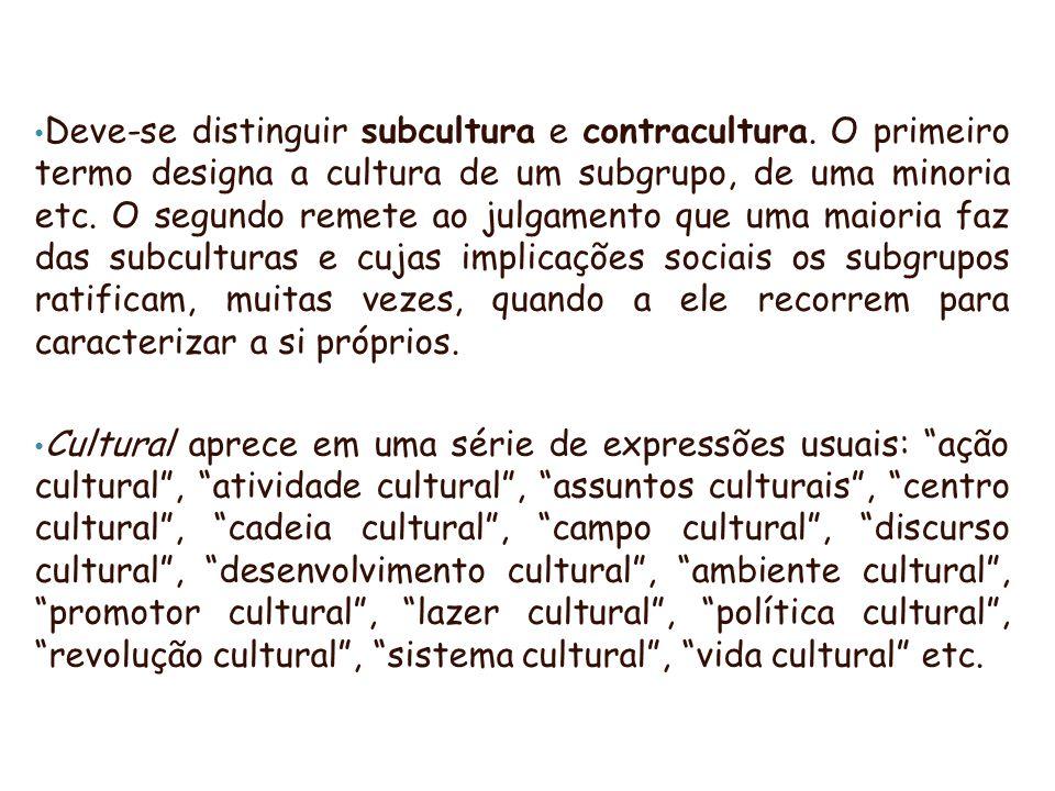 Deve-se distinguir subcultura e contracultura