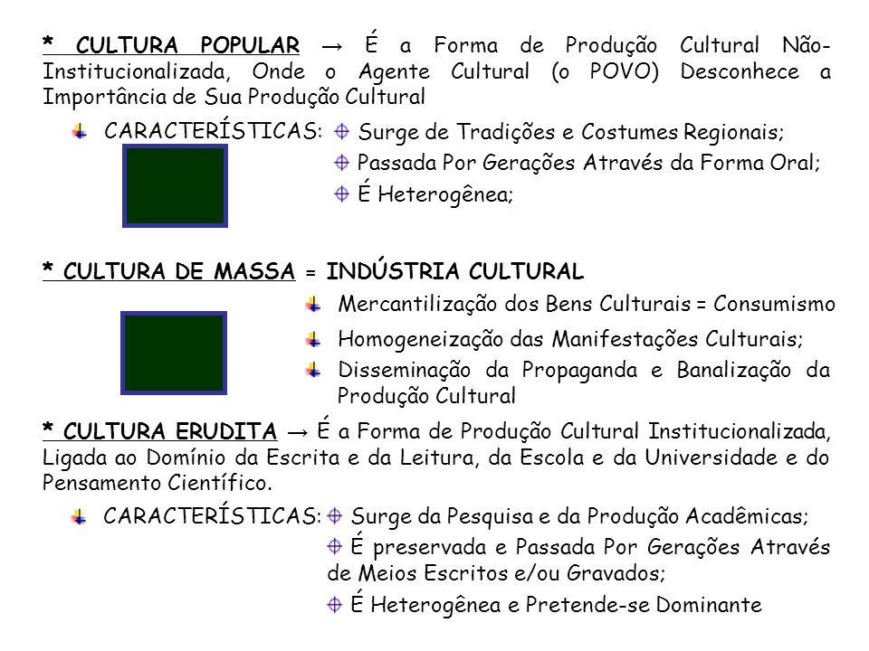 * CULTURA POPULAR → É a Forma de Produção Cultural Não-Institucionalizada, Onde o Agente Cultural (o POVO) Desconhece a Importância de Sua Produção Cultural