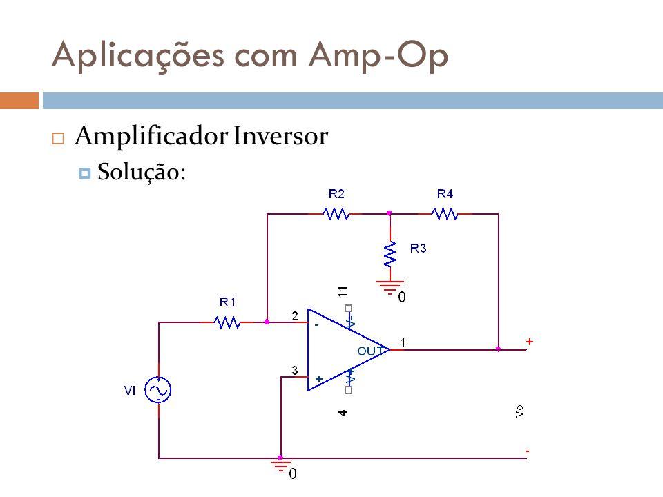 Aplicações com Amp-Op Amplificador Inversor Solução: