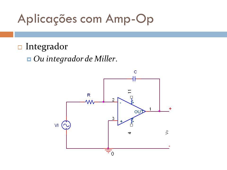 Aplicações com Amp-Op Integrador Ou integrador de Miller.