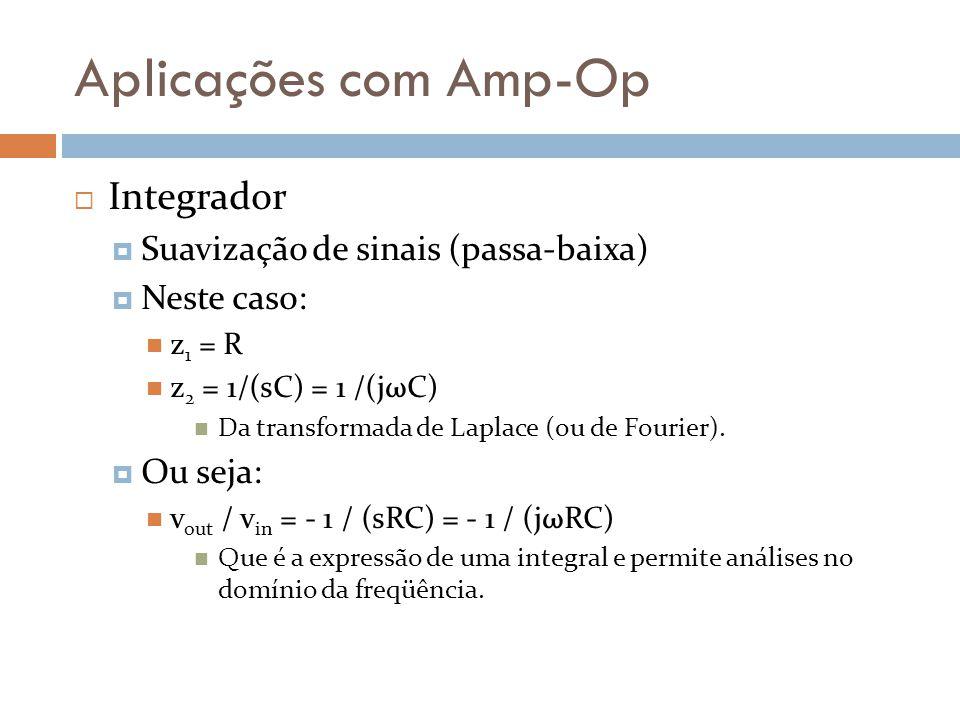 Aplicações com Amp-Op Integrador Suavização de sinais (passa-baixa)