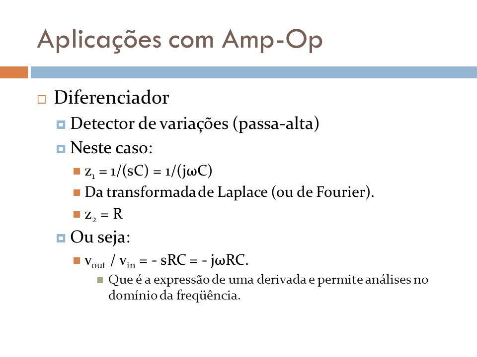 Aplicações com Amp-Op Diferenciador Detector de variações (passa-alta)