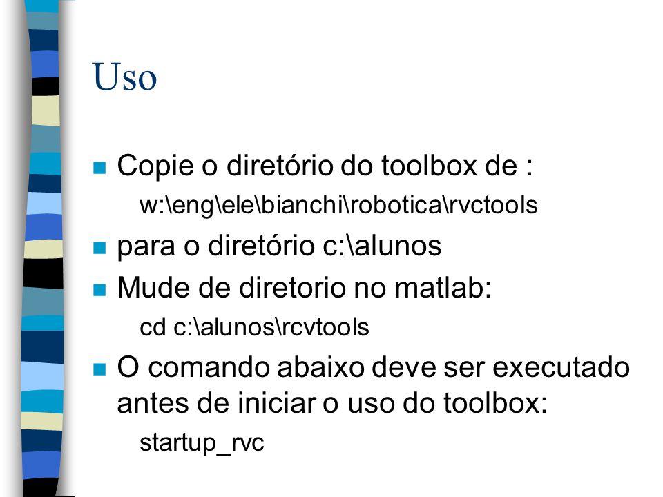 Uso Copie o diretório do toolbox de : para o diretório c:\alunos