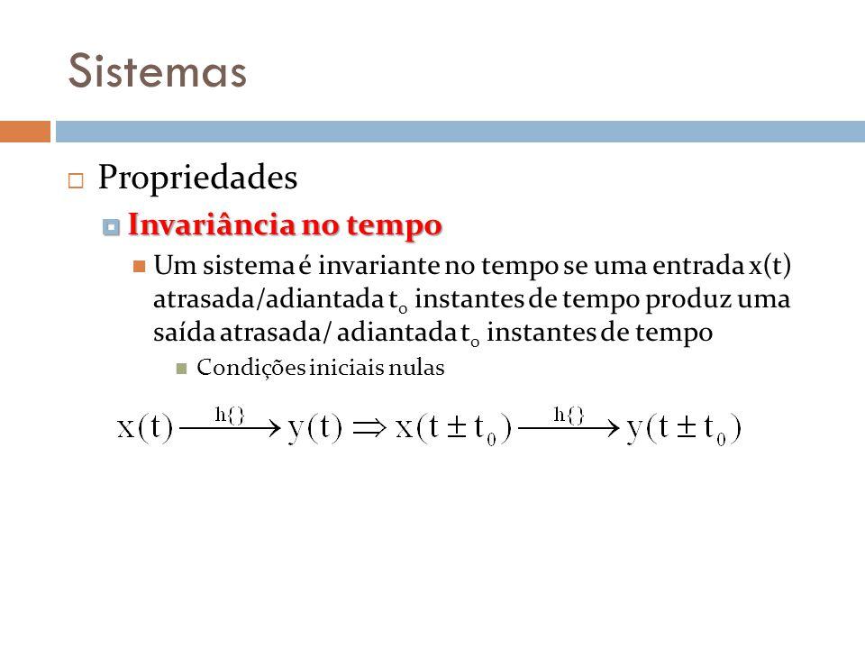 Sistemas Propriedades Invariância no tempo