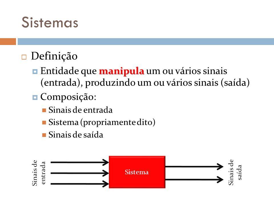 Sistemas Definição. Entidade que manipula um ou vários sinais (entrada), produzindo um ou vários sinais (saída)