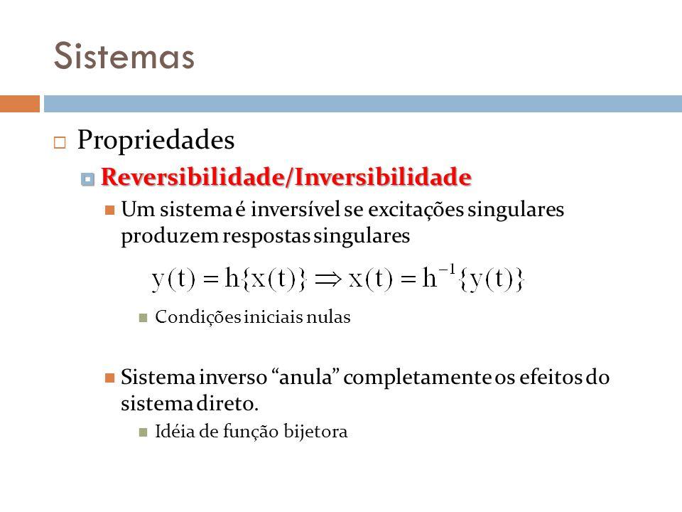 Sistemas Propriedades Reversibilidade/Inversibilidade