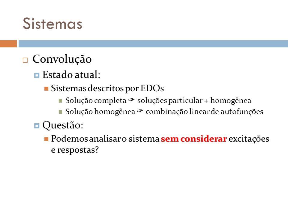 Sistemas Convolução Estado atual: Questão: Sistemas descritos por EDOs