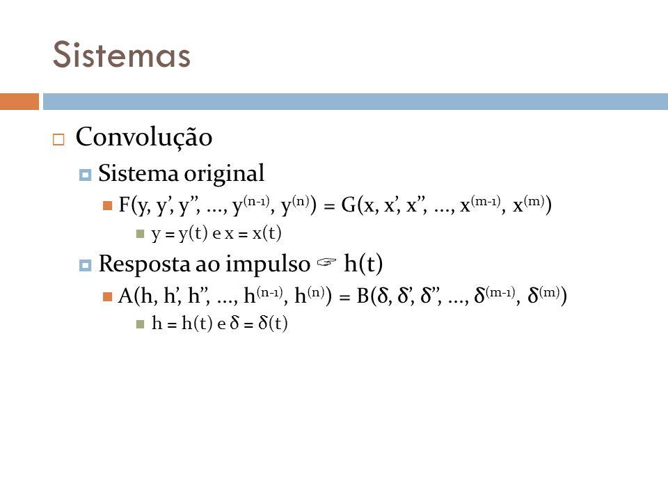 Sistemas Convolução Sistema original Resposta ao impulso  h(t)