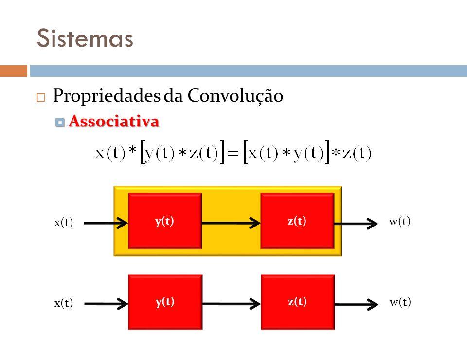 Sistemas Propriedades da Convolução Associativa y(t) x(t) w(t) z(t)