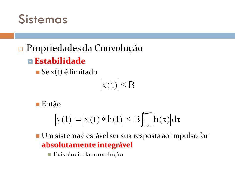 Sistemas Propriedades da Convolução Estabilidade Se x(t) é limitado
