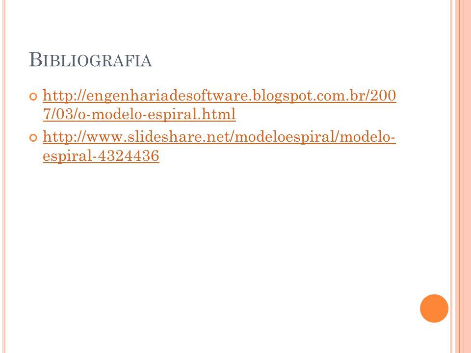 Bibliografia http://engenhariadesoftware.blogspot.com.br/200 7/03/o-modelo-espiral.html.